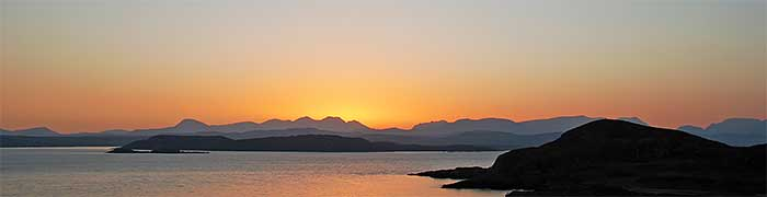 Sunrise over the north-west Highlands in Wester Ross