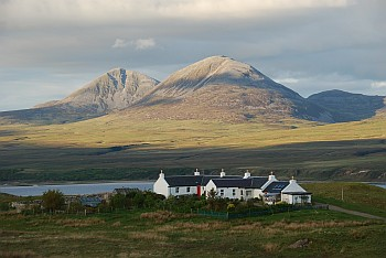 Cottages at Caol Ila with the Paps of Jura
