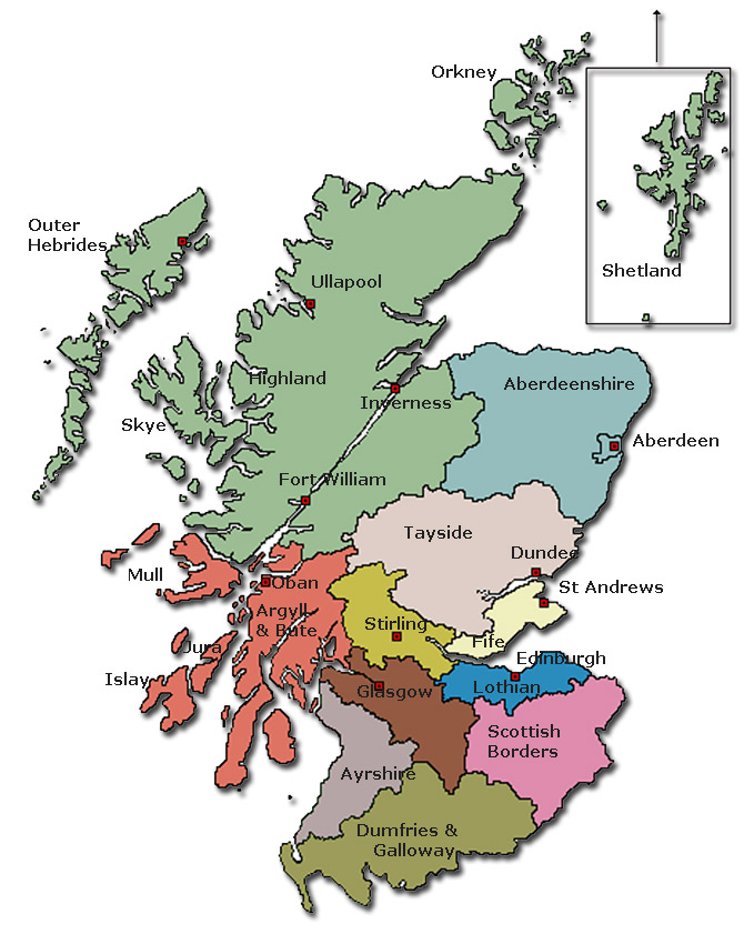 Scotland Clan Map Authorities Map and Regions and Towns Map