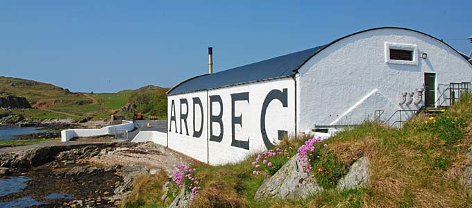 Ardbeg Distillery on Islay, and island with eight working Malt Whisky Distilleries