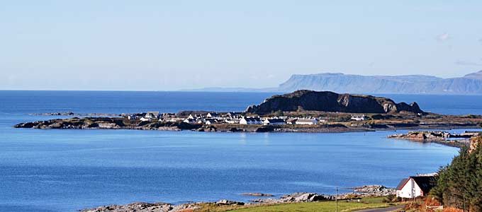 Easdale seen from the Isle of Seil in the Slate Islands group in the Inner Hebrides