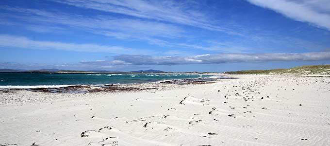 The stunning white beaches and blue seas in North Uist