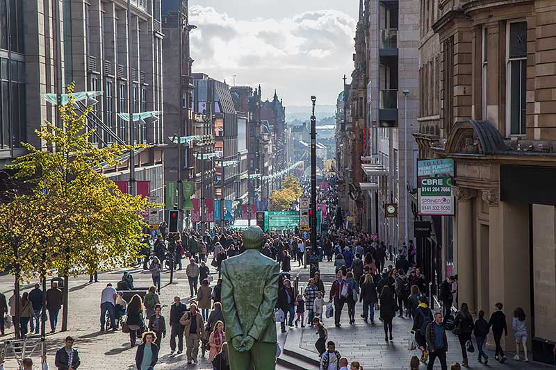 Looking down on Buchanan Street from the Glasgow Royal Concert Hall