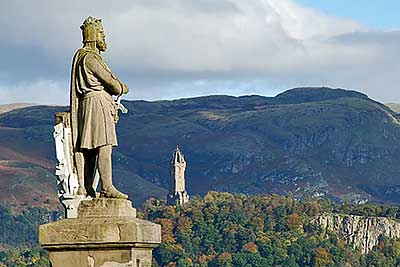 Robert the Bruce and Wallace Monument from Stirling Castle
