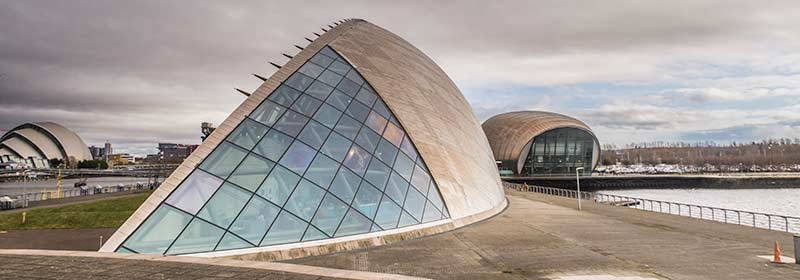 Glasgow Science Centre - Imax Theatre and Armadillo (left)