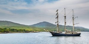 Tall Ship Thalassa anchored off the Islay Coast