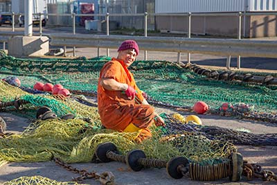Mending Fishing Nets in Peterhead
